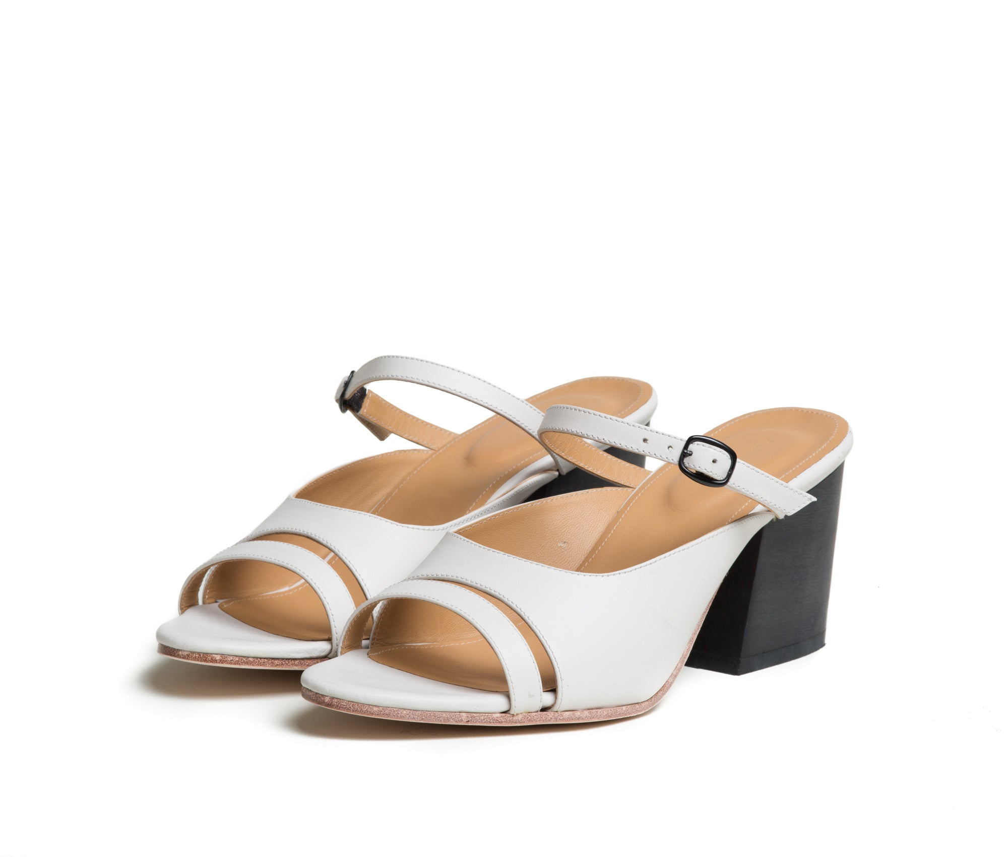 seta three piece buckled slide sandal with wood heel - lunar smooth leather