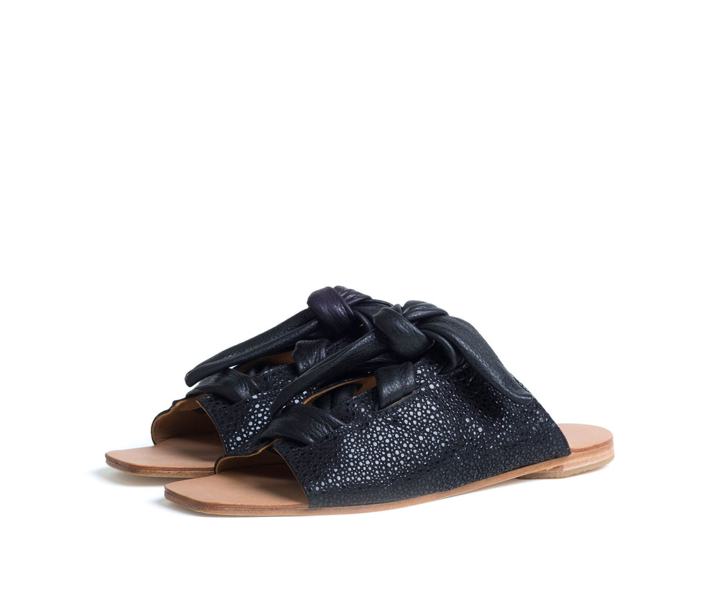 texo sandal - black shagreen print leather