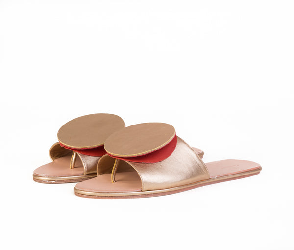 caeleste slide sandal - gold glazed / saffron textured leather
