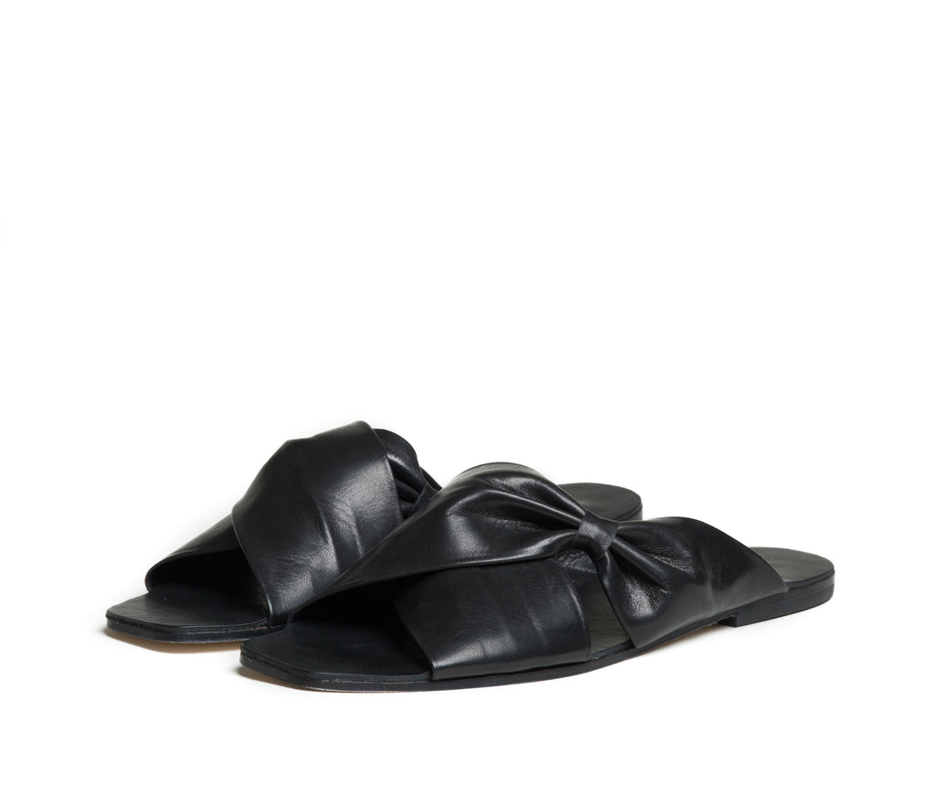 theca gathered cross band slide sandal - black smooth leather