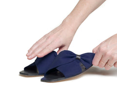 theca gathered cross band slide sandal - navy nubuck