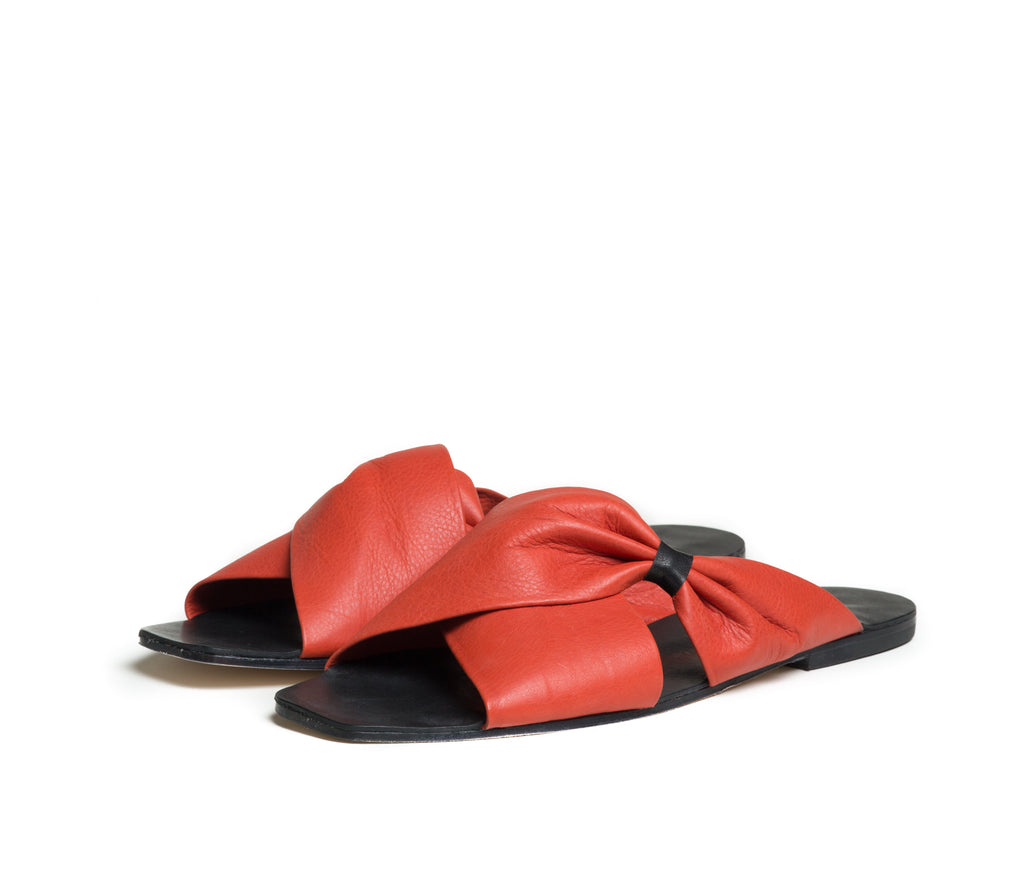 theca gathered cross band slide sandal - saffron textured leather