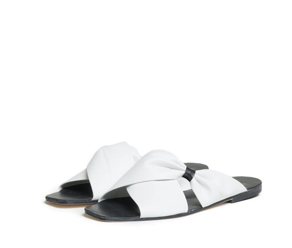 theca gathered cross band slide sandal - lunar smooth leather
