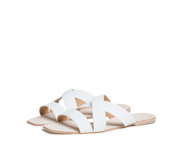 thyia elasticized cross band slide sandal - white