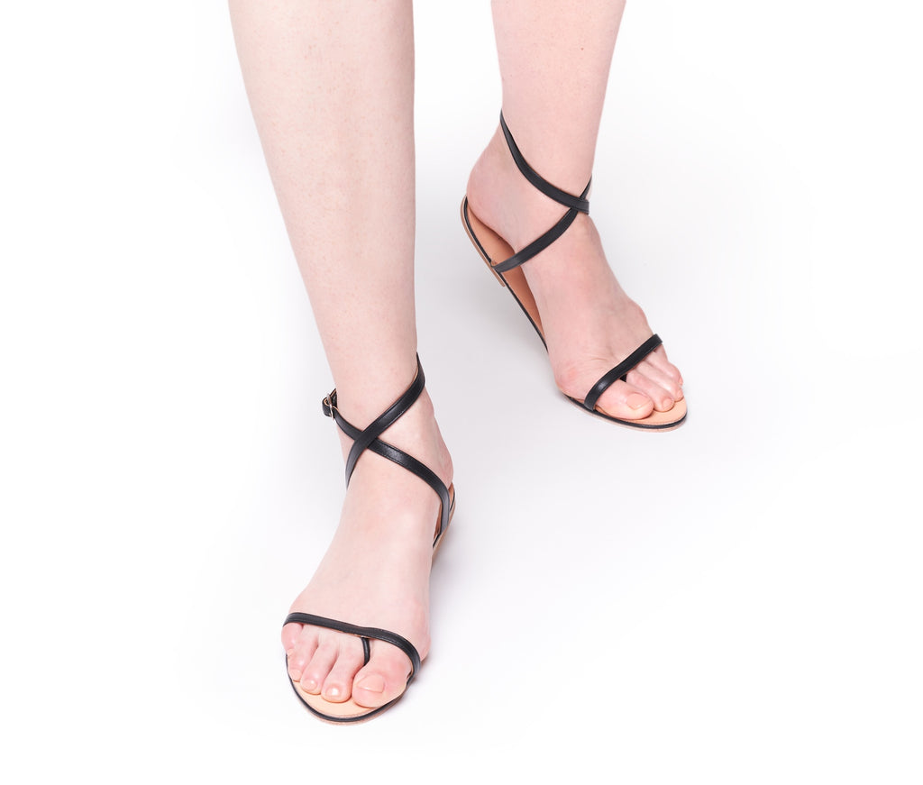 calide cross band sandal - black smooth leather