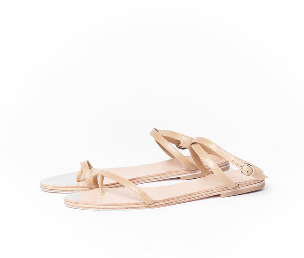 calide cross band sandal - tan smooth leather