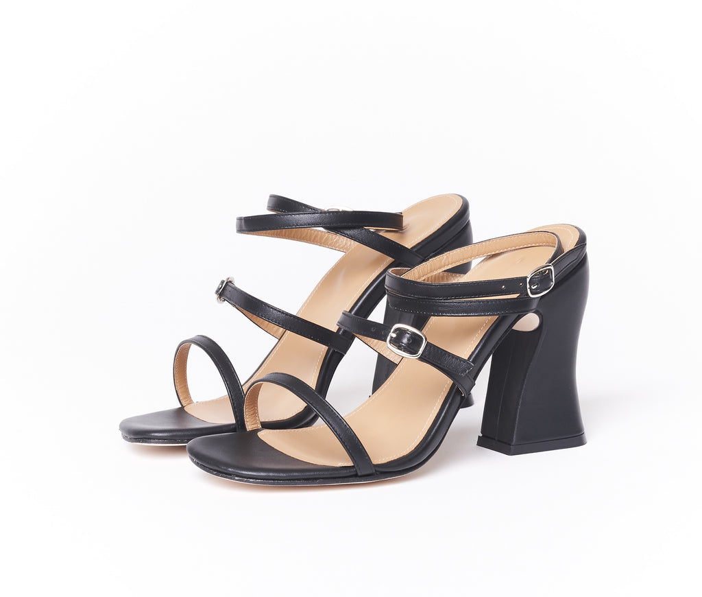 SECOND QUALITY - dalia curved heel cross band sandal - black smooth leather