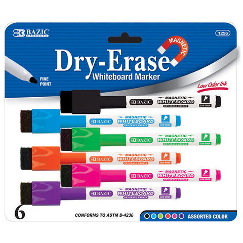 BAZIC Bright Color Magnetic Dry-Erase Markers (6/Pack)