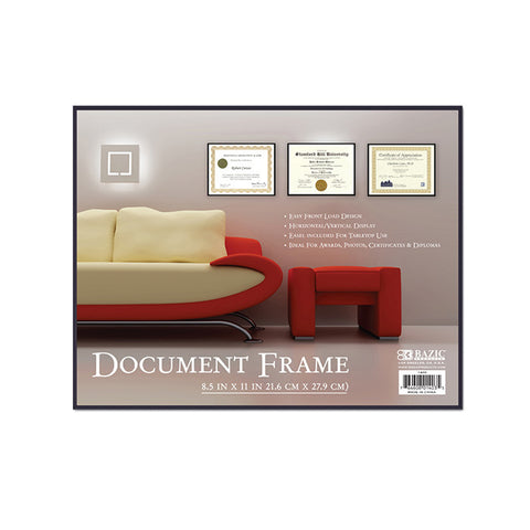 "BAZIC 8.5"" X 11"" Front Loading Document Frame w/ Glass Cover"