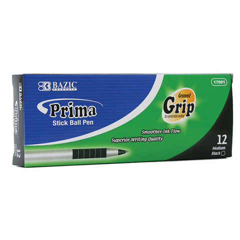 BAZIC Prima Black Stick Pen w/ Cushion Grip (12/Box)