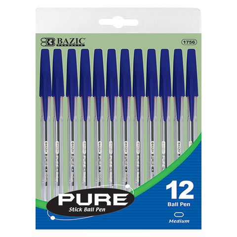 BAZIC Pure Blue Stick Pen (12/Pack)