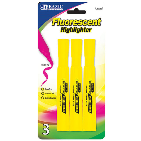 BAZIC Yellow Desk Style Fluorescent Highlighters (3/Pack)