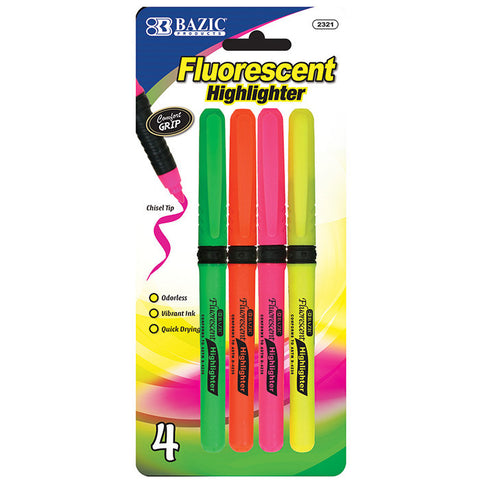 BAZIC Pen Style Fluorescent Highlighters w/ Cushion Grip (4/Pack)