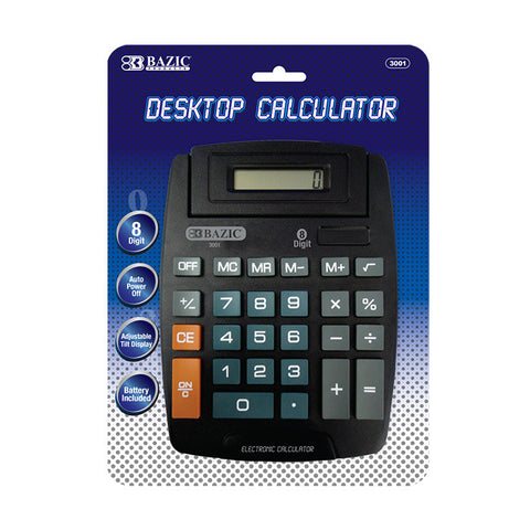 BAZIC 8-Digit Large Desktop Calculator w/ Adjustable Display