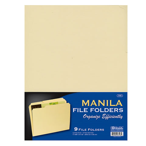 BAZIC 1/3 Cut Letter Size Manila File Folder (9/Pack)
