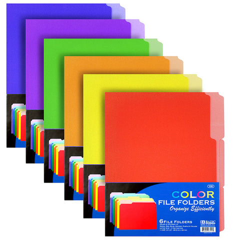 BAZIC 1/3 Cut Letter Size Color File Folder (6/Pack)