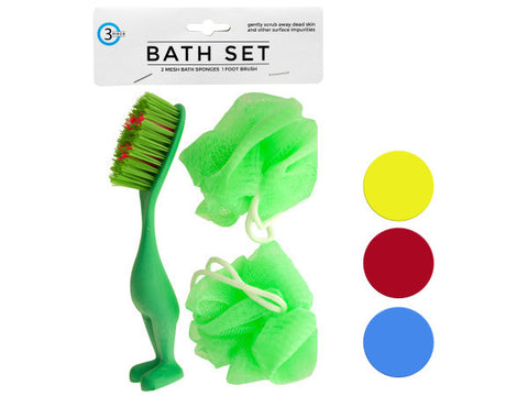 Bath Sponges & Foot Brush Set