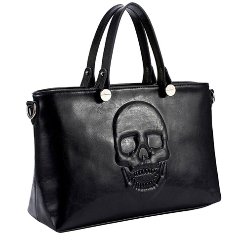 Mechaly Women's Skully Vegan Leather Skull Handbag