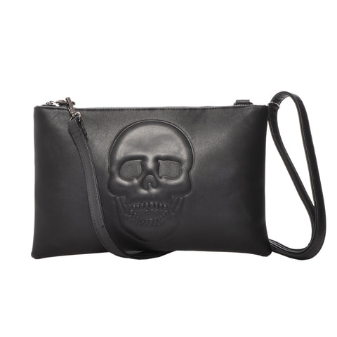 Mechaly Women's Skully Vegan Leather Skull Crossbody Handbag