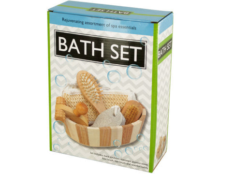 Essential Bath Set in Wooden Basket