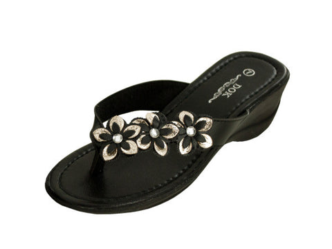 Black Floral Wedge Sandals with Jewel Accents