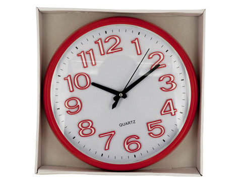 Large Easy to Read Round Red Clock