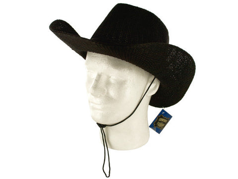 Woven Cowboy Fashion Hat with Neck Cord