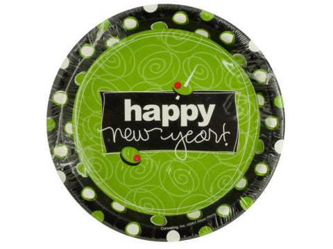 Happy New Year Olive Design Party Plates