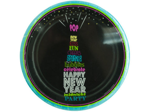 Happy New Year Champagne Pop Party Plates