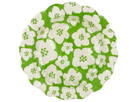 Green & White Floral Cocktail Plates