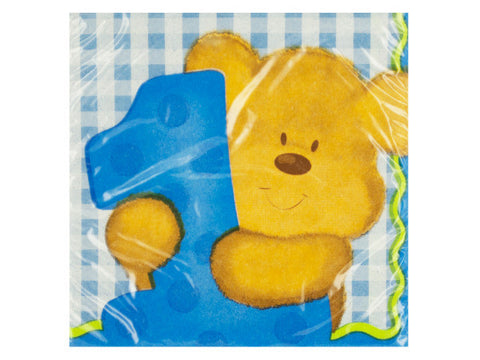 Boy's First Birthday Blue Beverage Napkins