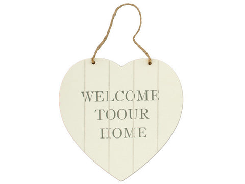 Welcome Heart Shaped Wall Plaque