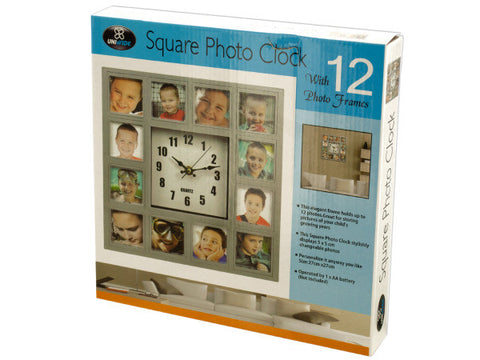 12-Section Square Silver Photo Frame Clock