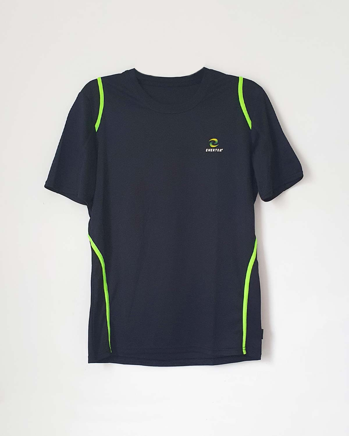 Enertor Breathable T-shirt Black Logo Top With Green Luminous Stripes