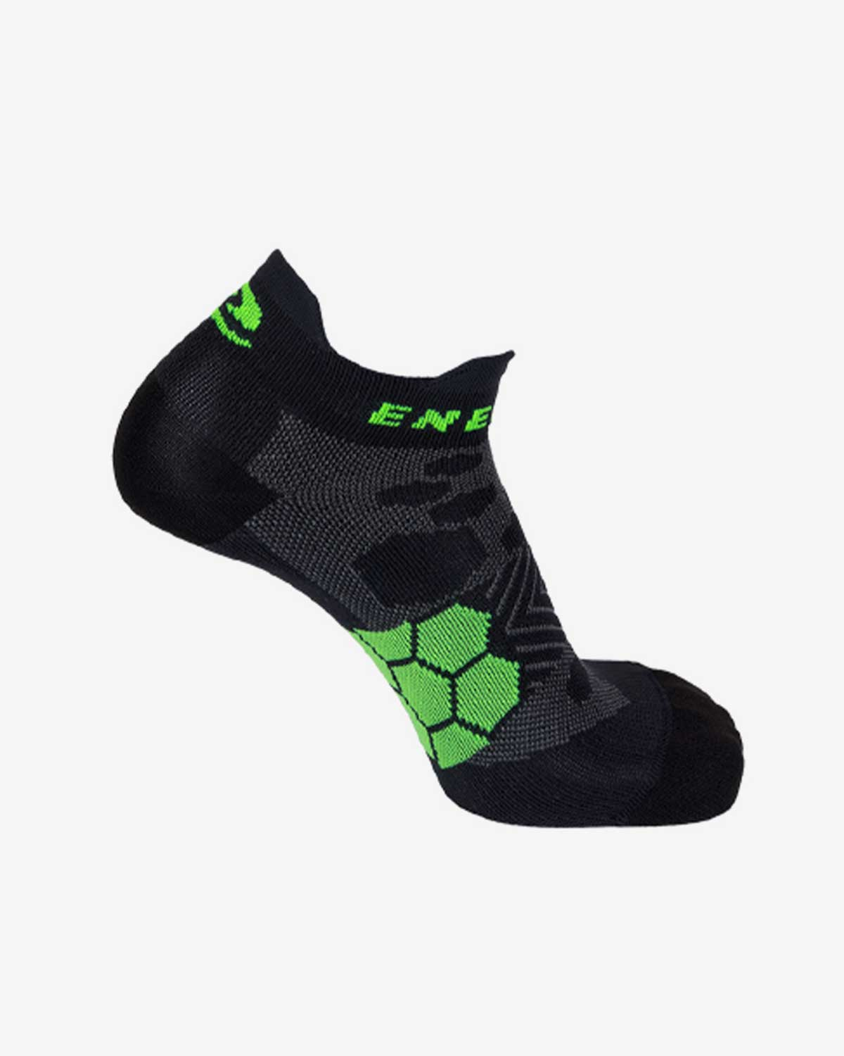 Enertor Specialist Black and Green Running Socks - Left.jpg