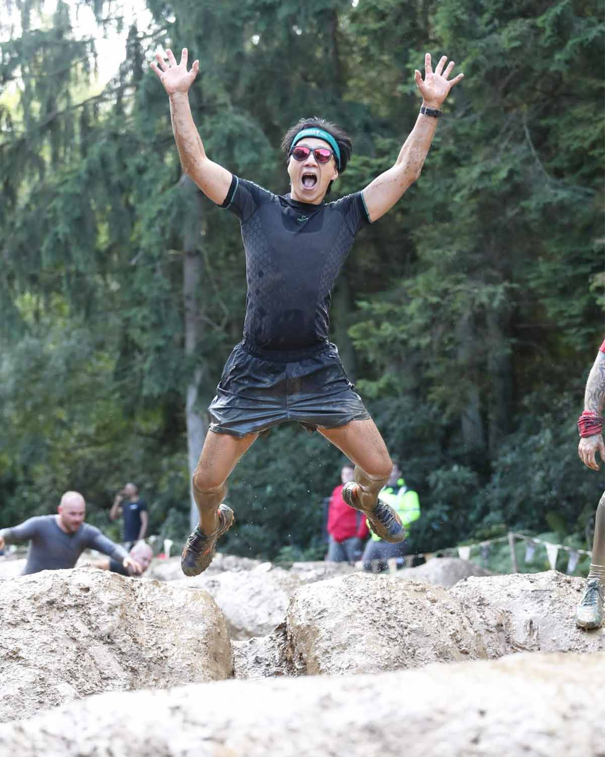 Enertor ambassador Will wearing Enertor Baselayer at Tough Mudder