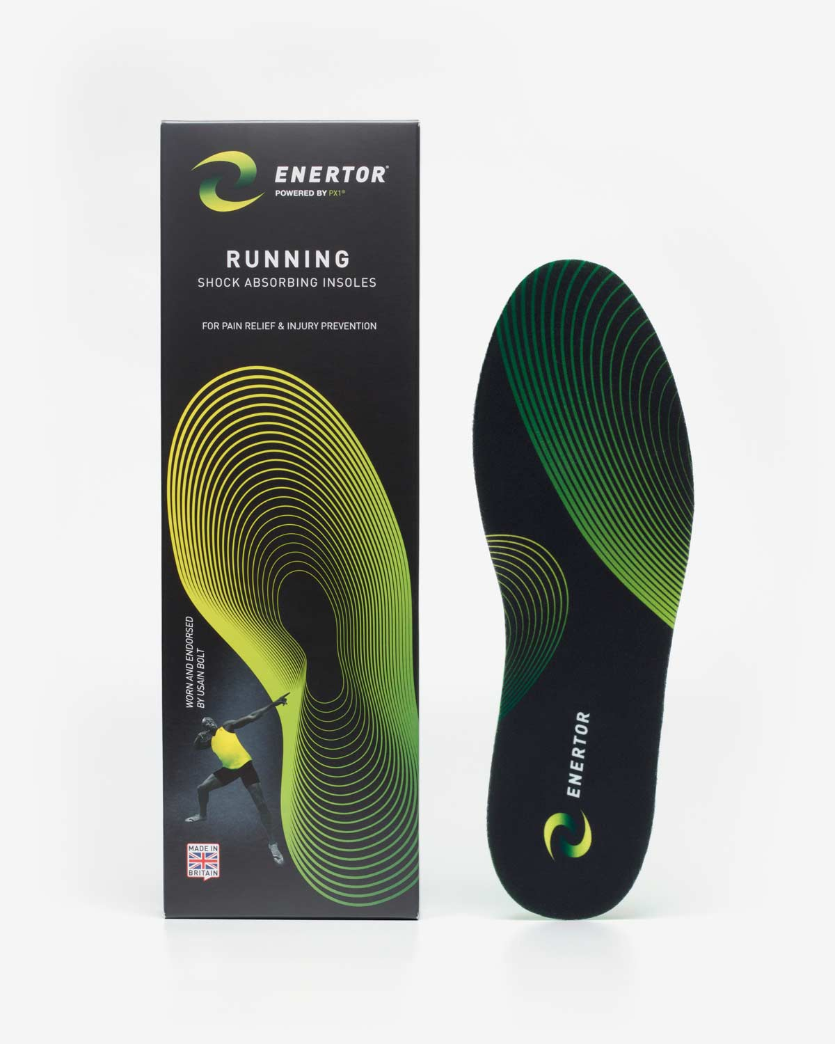 Enertor Running Insoles Black Packaging