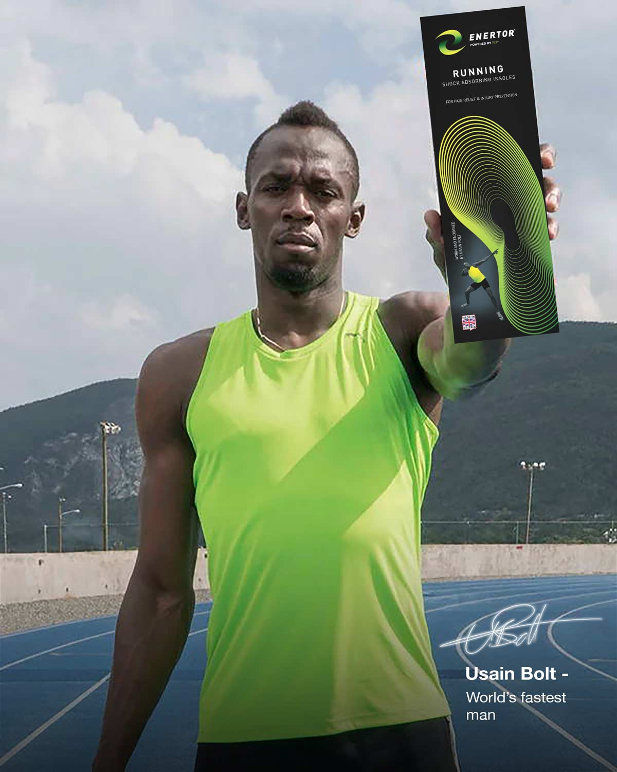 Usain Bolt holding Enertor Running Insoles - Twin Pack