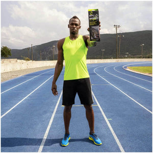 Usain Bolt holding package of Enertor insoles