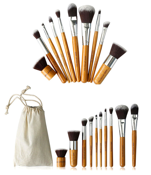10 Piece Bamboo Brush Set With Free Case , Make Up Brush - MyBrushSet, My Make-Up Brush Set  - 2