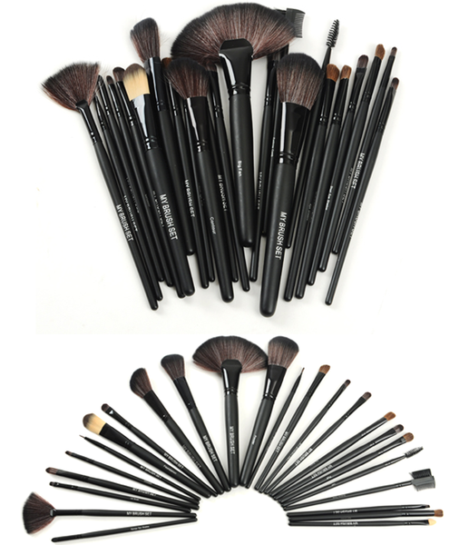 24 Piece Jet Black Make Up Brush Set with Free Case , Make Up Brush - MyBrushSet, My Make-Up Brush Set  - 2