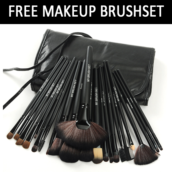 24 Piece Jet Black Make Up Brush Set with Free Case , Make Up Brush - MyBrushSet, My Make-Up Brush Set  - 3