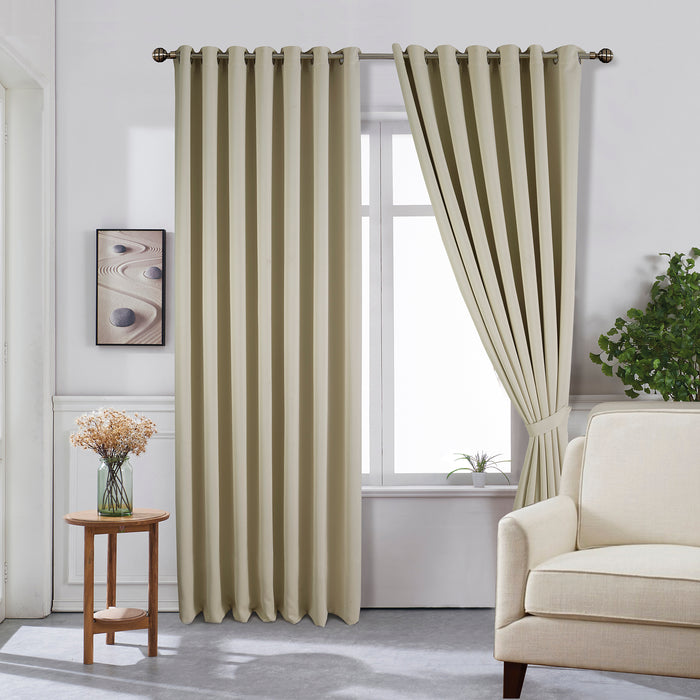 Blackout Eyelet Curtains with Matching Tiebacks | 10 Sizes | 4 Colours