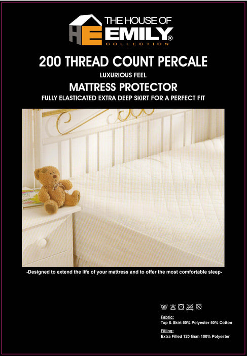 Quilted Mattress Protector Extra Deep Fully Elasticated 200 Tc Cover and Skirt