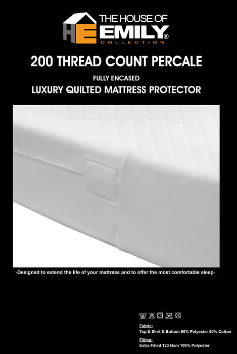 Fully Enclosed Encased Quilted Mattress Protector Cover Zip Closure Extra Deep | 11 Bed Sizes