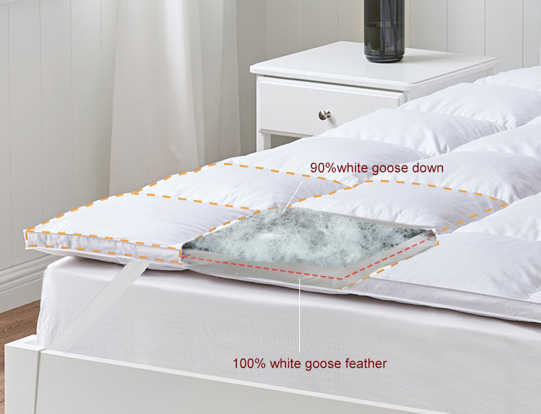 "Goose Feather & Down Mattress Topper Double Layer 3"" Thick"