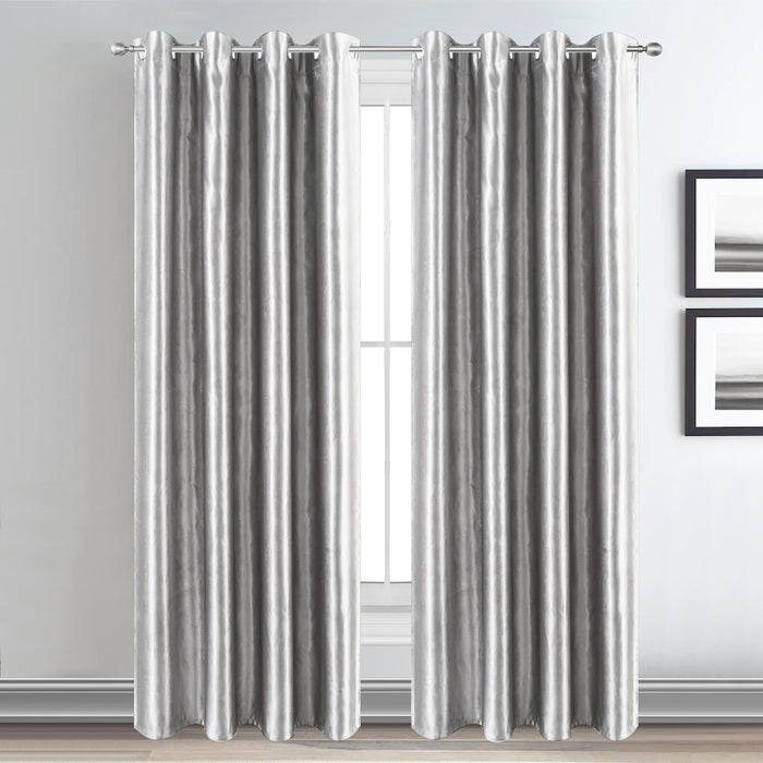 Silver Blackout Curtains Eyelet Ring Top with Tiebacks