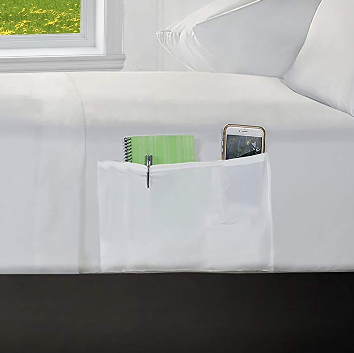 "Fitted Sheet with Side Storage Pockets White 12"" Extra Deep 200 Tc"