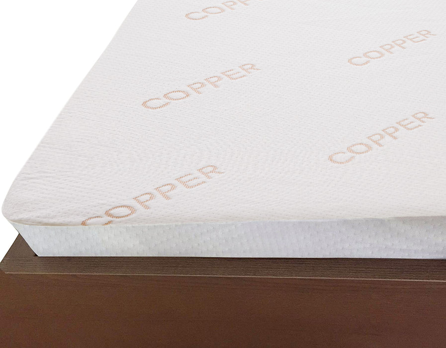Copper Infused Cushioned Anti Viral Mattress Protector Waterproof Fully Enclosed Zip Closure