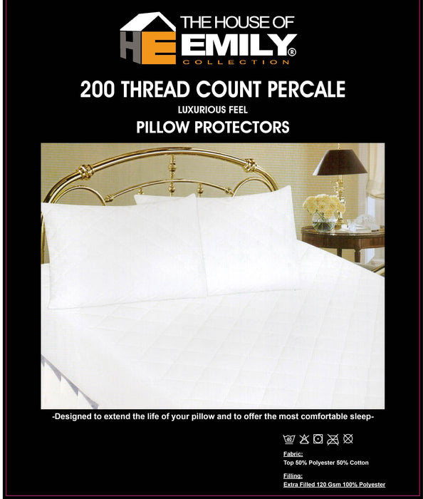 Quilted Pillow Protectors Pack of 2 Diamond Pattern 200 Tc Cover | 3 Sizes